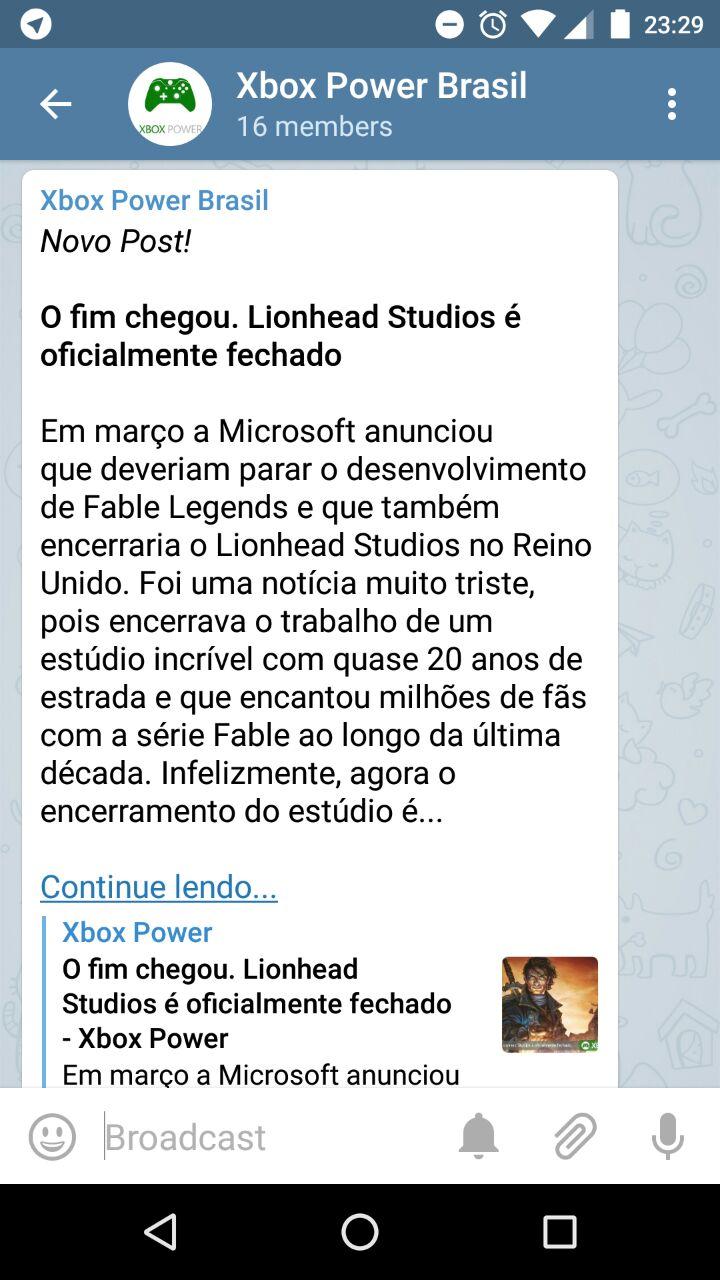Telegram Xbox Power