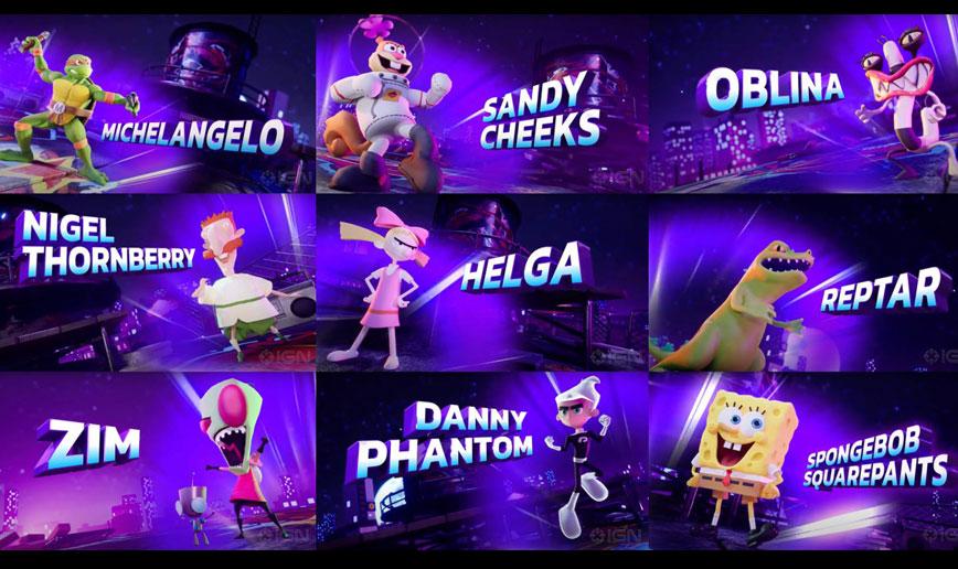 Nickelodeon All-Star Brawl personagens no game